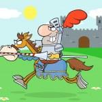 Knight Riding Horse — Stock Photo
