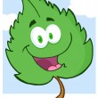Green Leaf Cartoon Character — Stock Photo