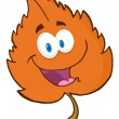 Orange Leaf Cartoon Character — Stock Photo