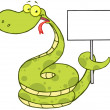 Happy Snake Holding Up A Blank Sign — Stock Photo #13964946