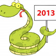 Snake Cartoon Character Holding Up A Blank Sign — Stock Photo