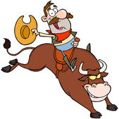 Happy Cowboy Riding Bull In Rodeo — Stock Photo