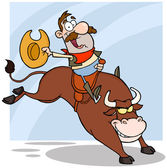 Cowboy Riding Bull In Rodeo — Stock Photo