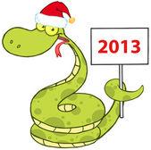 Boş bir kayıt tutarak santa şapka ile yılan — Stok fotoğraf