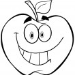 Stock Photo: Outlined Apple Cartoon Mascot Character