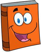 Happy Orange Book Mascot — Stock Vector