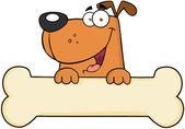 Karikatür köpek kemik afiş üzerinde — Stok fotoğraf