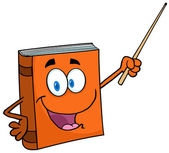 Text Book Cartoon Character With A Pointer — Zdjęcie stockowe