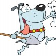 Running Gray Dog With A Bone And Shovel - Stock Photo