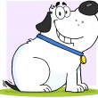 Gray Fat Dog Cartoon Mascot Character - Stock Photo