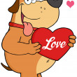 Dog Holding Up A Red Heart With Text Love — Stock Photo