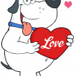 White  Dog Holding Up A Red Heart With Text — Stock Photo