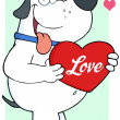 White Dog Holding Up A Red Heart With Text Love — Stock Photo