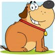 Stock Photo: Brown Fat Dog Cartoon Mascot Character