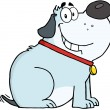 Gray Fat Dog Cartoon Mascot Character — Stock Photo