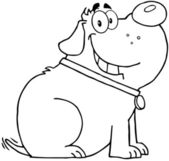 Outlined Fat Dog Cartoon Mascot Character — Stock Photo