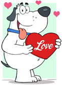 White Dog Holding Up A Red Heart With Text Love — Stockfoto