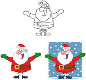 Jolly Santa Claus Cartoon Mascot Characters- Collection — Stock Photo