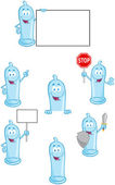 Condoms Cartoon Mascot Characters- Collection — Stock Photo