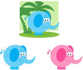 Elephant Cartoon Mascot Characters- Collection — Stock Photo