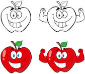 Apple Cartoon Mascot Characters- Collection — Stock Photo