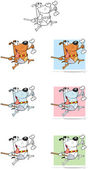 Happy Dog With Shovel and Bone Cartoon Mascot Characters- Collection — Stock Photo