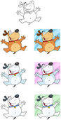 Jumping Dog Cartoon Mascot Characters- Collection — Stock Photo