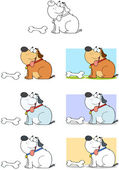 Dog With Bone Cartoon Mascot Characters-Collection — Stock Photo