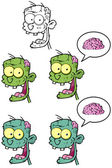 Zombie Head Cartoon Mascot Characters- Collection — Stock Photo