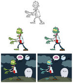 Zombie Cartoon Mascot Characters-Collection — Stock Photo