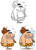 Caveman Cartoon Mascot Characters- Collection — Stock Photo