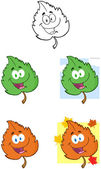 Leaf Cartoon Mascot Characters- Collection — Stock Photo