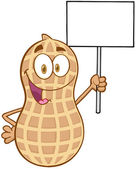 Peanut Cartoon Character Holding Up A Blank Sign — Stock Photo