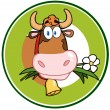 Dairy Cow Cartoon Logo Mascot Banner — Stock Photo