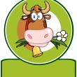 Dairy Cow Cartoon Logo Mascot — Stock Photo