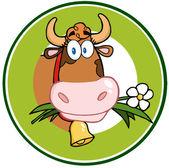 Dairy Cow Cartoon Logo Mascot Banner — Stock Photo
