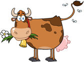 Vaca leiteira marrom com flor na boca — Foto Stock