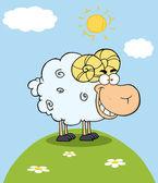 Ram Cartoon Mascot Character On A Hill — Stock Photo