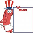 Sausage With American Patriotic Hat Showing Menu — Stock Photo #20299999