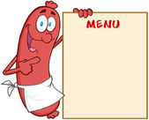 Sausage Cartoon Mascot Character Showing Menu — Stock Photo