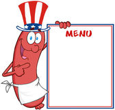 Sausage With American Patriotic Hat Showing Menu — Stock Photo