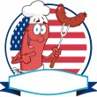Sausage Logo Over A Circle And Blank Banner In Front Of Flag Of USA — Stok fotoğraf