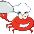 Crab Chef Cartoon Mascot Character — ストック写真