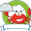 Crab Chef Cartoon Mascot Logo — 图库照片