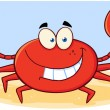Stock Photo: Crab Cartoon Mascot Character