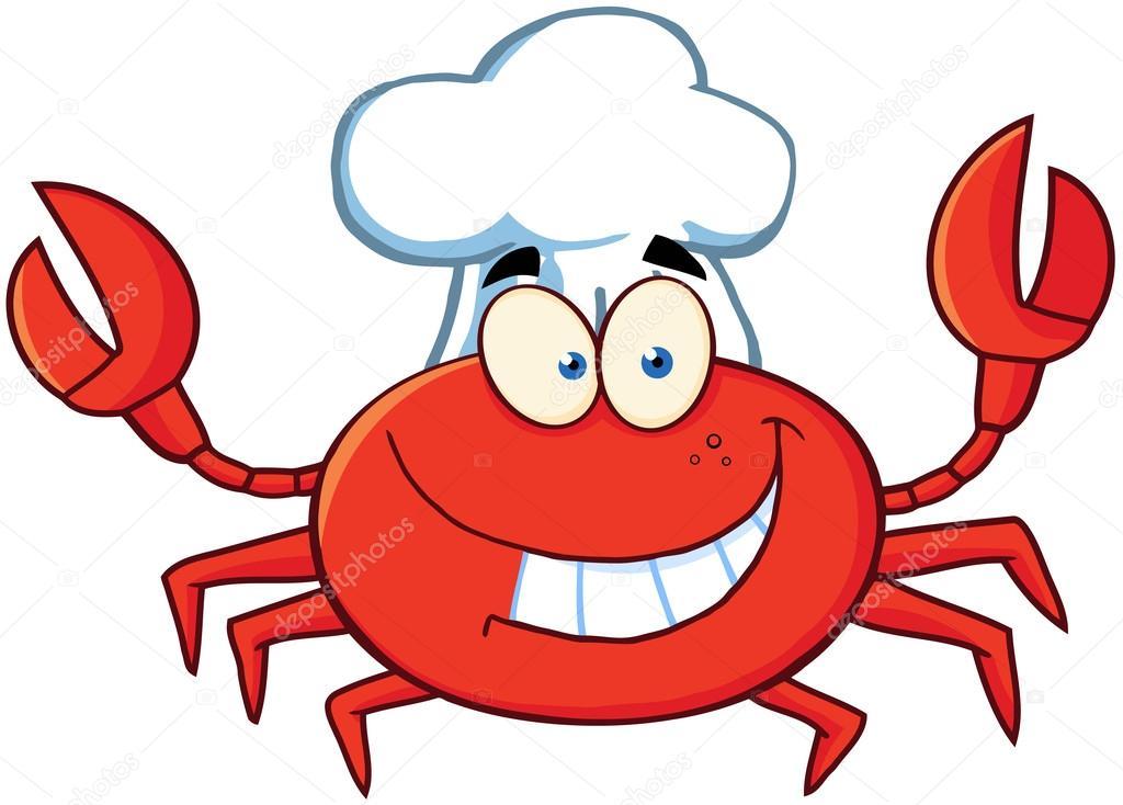 螃蟹的厨师卡通吉祥物形象– 图库图片
