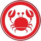 Logotipo de caranguejo do círculo vermelho — Foto Stock