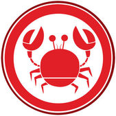 Red Circle Crab Logo — Stock Photo