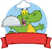 Crocodile Chef Holding A Platter Over A Blank Banner — Stock Photo