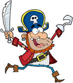 Pirate Holding Up A Sword And Hook — Stock Photo